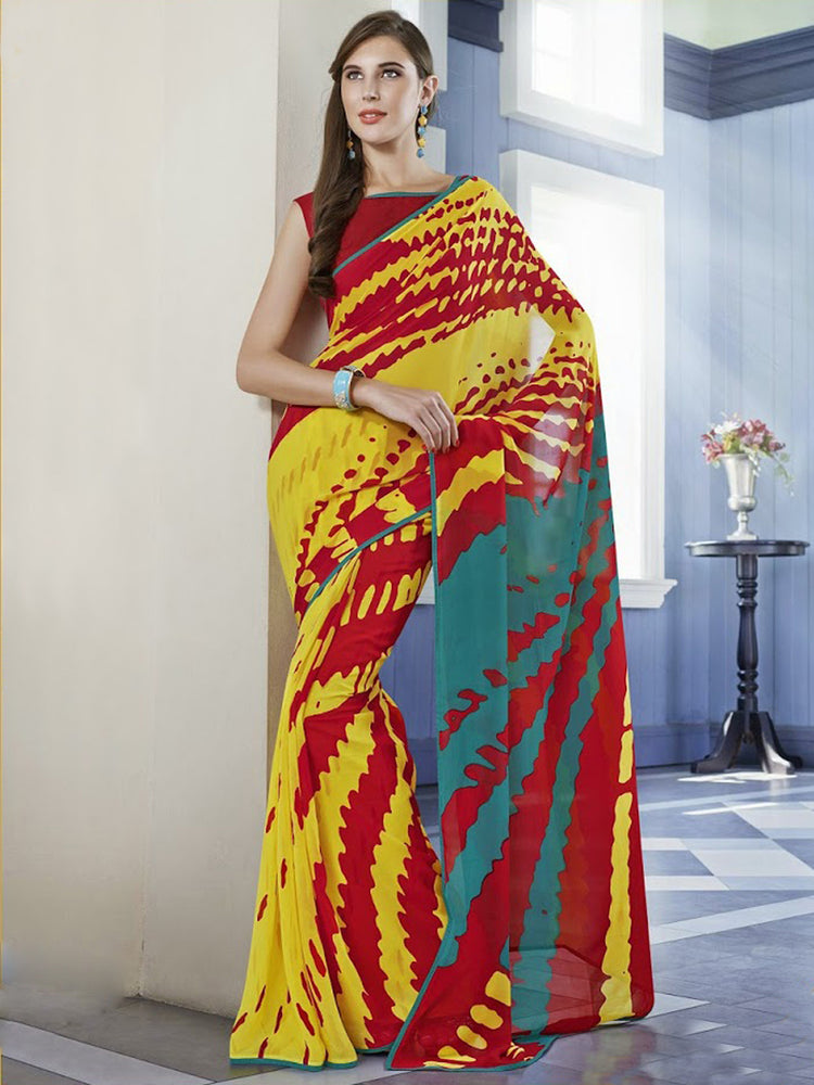 Georgette Maroon And Yellow Printed Saree@wishcart.in