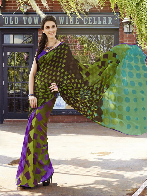 Georgette Parrot Printed Saree@wishcart.in
