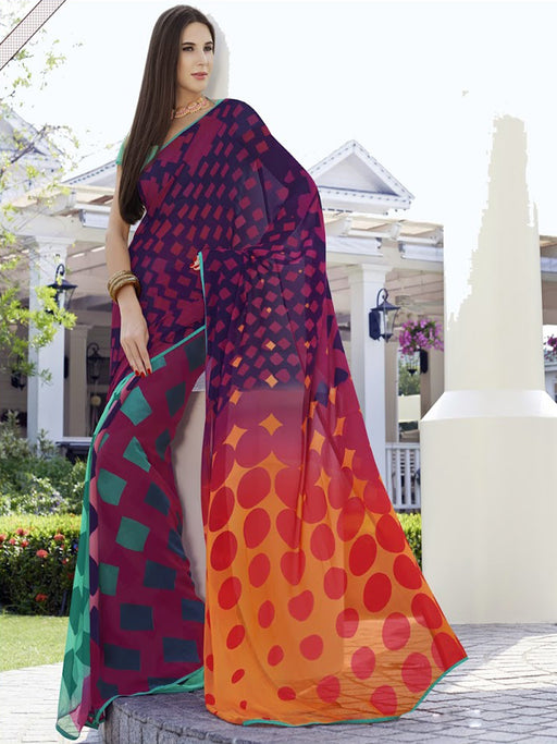 Georgette Maroon Printed Saree@wishcart.in