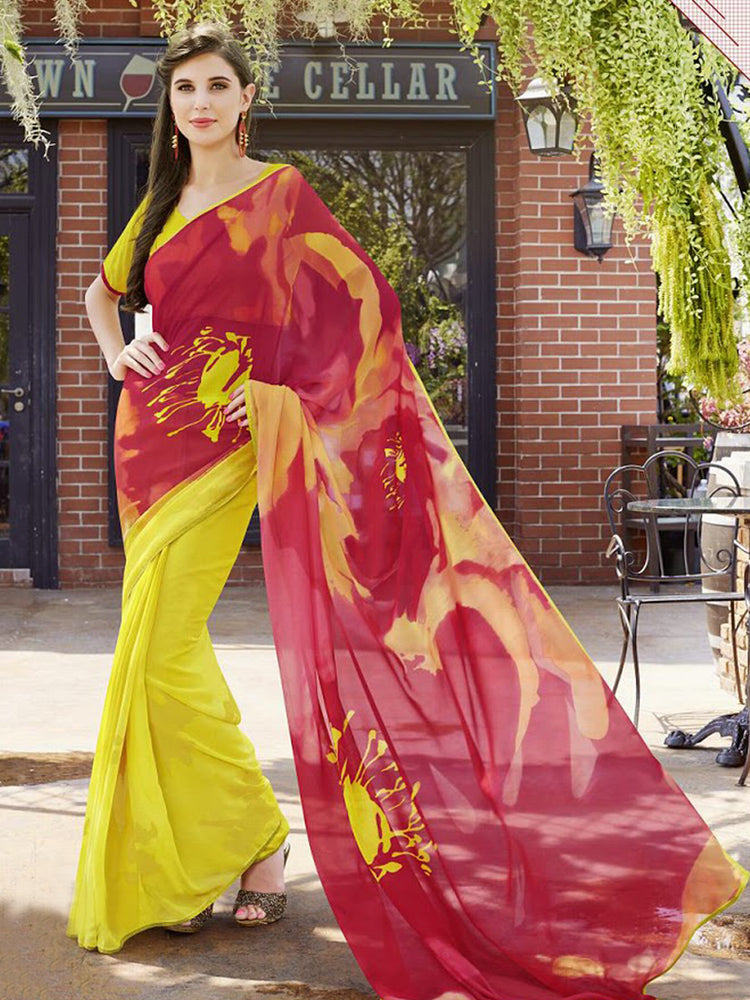 Yellow Printed Saree@wishcart.in