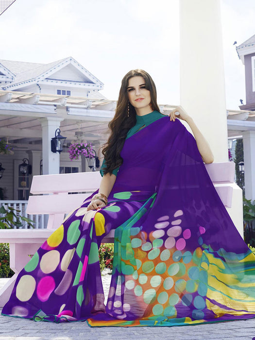 Printed georgette saree@wishcart.in