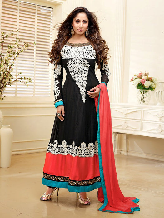 Black Semi Stitched Anarkali Suit - wishcart.in