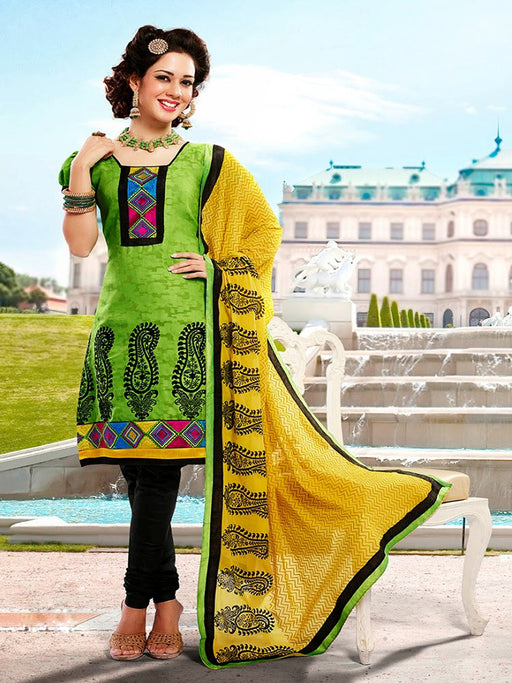 wishcart-store - Chanderi Light Green And Black Embroidered Dress Material - wishcart.in -