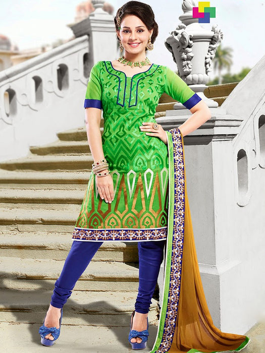 wishcart-store - Chanderi Golden And Light Green Embroidered Dress Material - wishcart.in -
