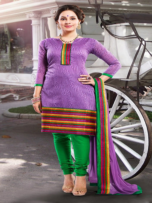 wishcart-store - Chanderi Green And Purple Embroidered Dress Material - wishcart.in -