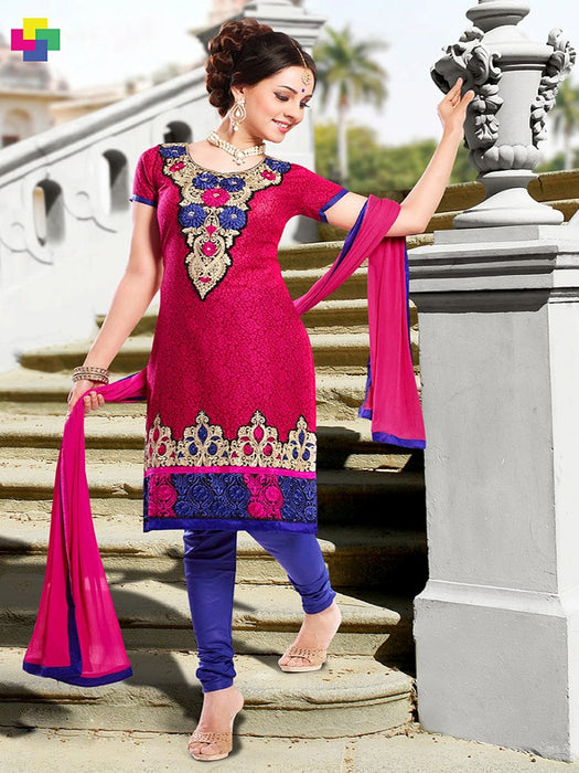 wishcart-store - Chanderi Red And Dark Blue Embroidered Dress Material - wishcart.in -