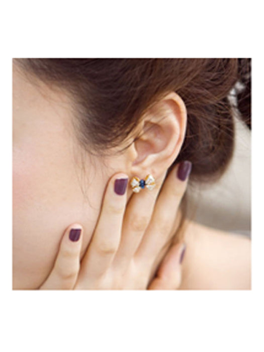 Blue bow earrings@wishcart.in