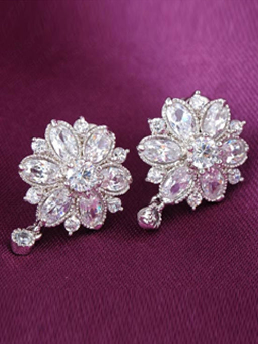 Crystal Flower Stud Earrings - wishcart.in