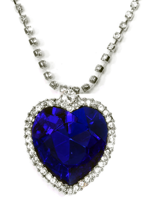 Blue Heart Ocean Crystal Pendant Necklace - wishcart.in