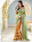 White & Multi Color Georgette Wedding Wear Embroidered Designer Saree