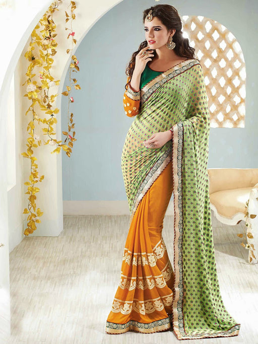 Georgette wedding wear saree@wishcart.in