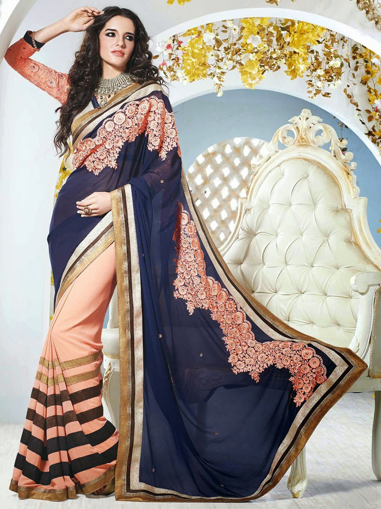 Designer embroidered saree for party@wishcart.in
