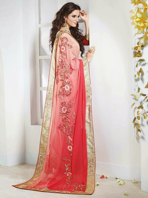Shaded Carrot Color Georgette Wedding Wear Embroidered Designer Saree