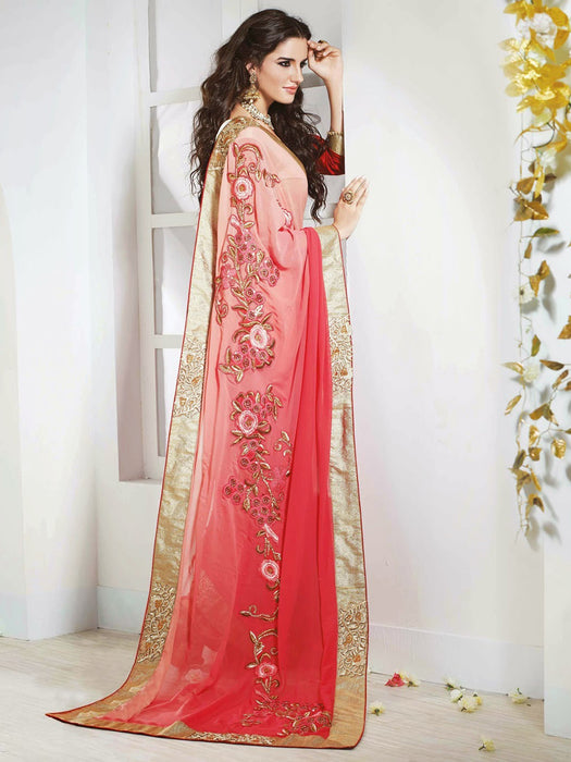 Embroidered georgette saree for wedding wear@wishcart.in