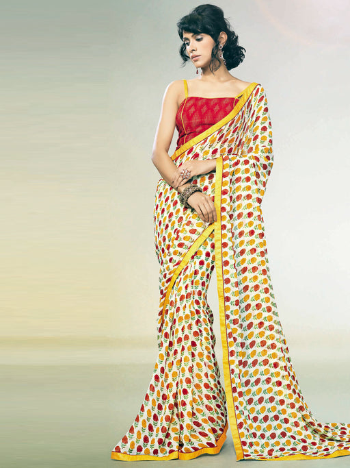 Printed georgette saree with blouse@wishcart.in
