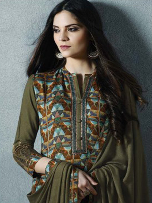 Unstitched digital print suit by Sahiba Pashmina Collection@wishcart.in