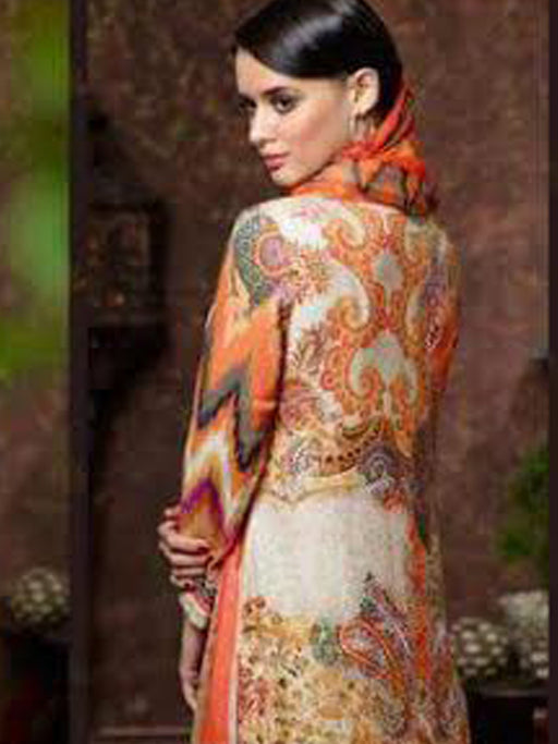 Embroidered pashmina and digital print suit@wishcart.in