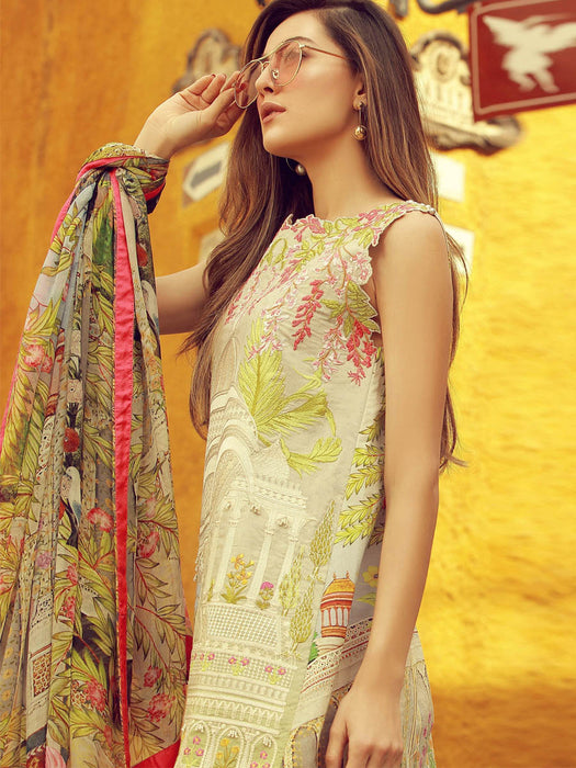Digital print embroidered suit for summer@wishcart.in