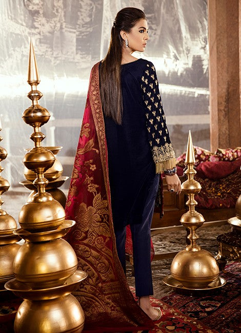 Iznik Festive Velvet Original Pakistani Dresses & Suits Collection EVENING BLUE - 06 wishcart.in