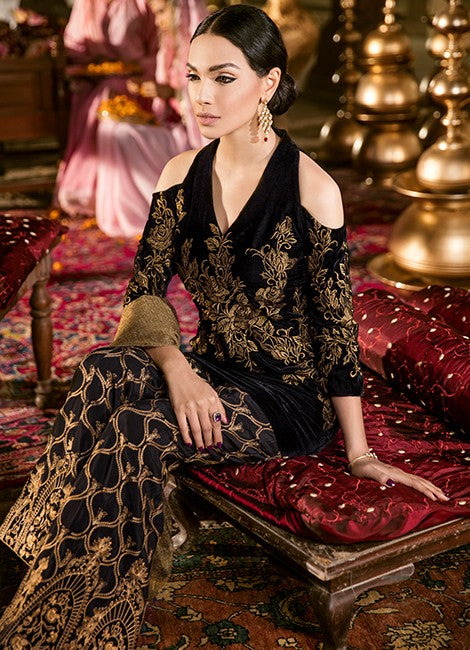 Iznik Festive Velvet Original Pakistani Dresses & Suits Collection MOONLESS NIGHT - 12 wishcart.in