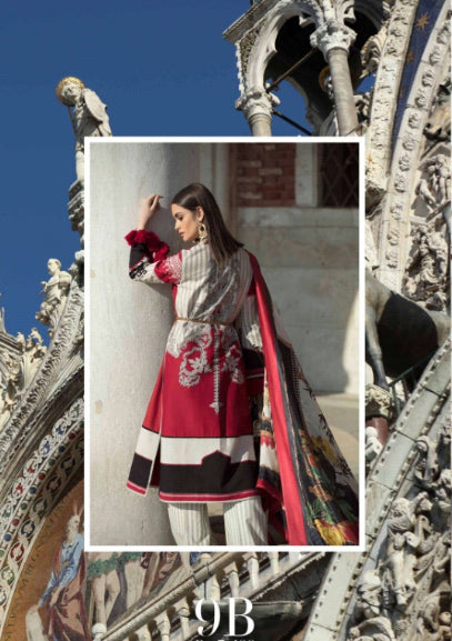 Sana Safinaz Luxury Lawn Collection 19 - 9B - Rosso