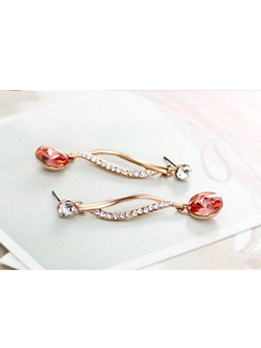Round crystal fancy earring@wishcart.in