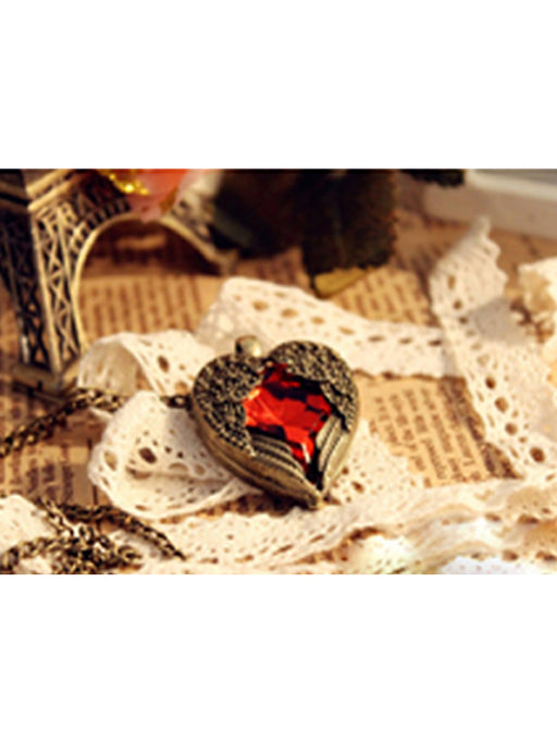 Heart Wings Gem Fashion Pendant Necklace@wishcart.in