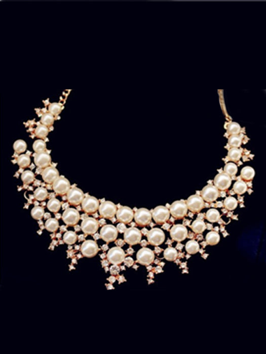 Shiny Pearl Collar Necklace@wishcart.in