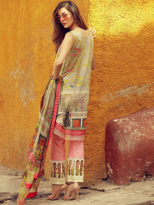 Digital print embroidered suit by Rungrez@wishcart.in