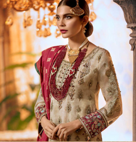 Heavy embroidered chiffon suits@wishcart.in