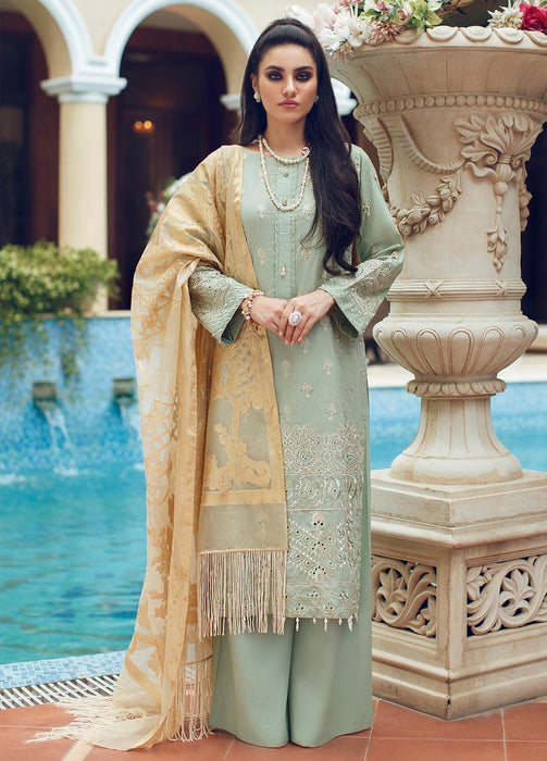 Wishcart-Pakistani suits-Rouche Embroidered Chikankari Luxury Collection '19 Clover Mint 03