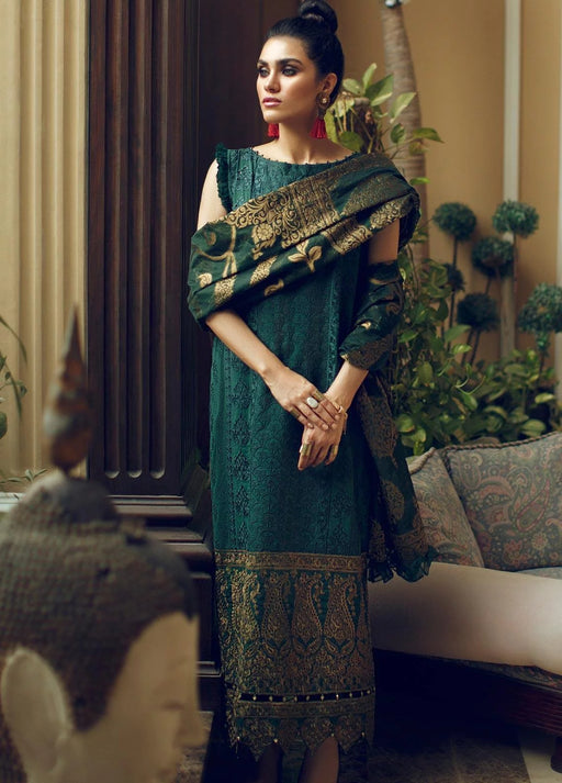 Wishcart-Pakistani suits-Rouche Embroidered Chikankari Luxury Collection '19 Emerald Gold 04