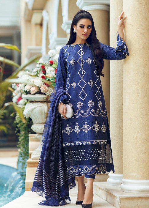 Wishcart-Pakistani suits-Rouche Embroidered Chikankari Luxury Collection '19 Evening Blue 06