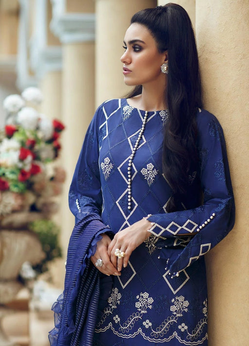 wishcart-Rouche 2019 Embroidered Chikankari Luxury Collection Evening Blue 06 2