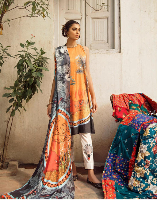 wishcart-Pakistanisuits-Aangan Cotton Satin suits by Cross Stitch – D1-Amber Monarch