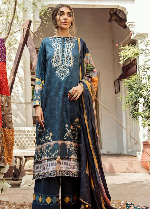 wishcart-Pakistanisuits-Aangan Cotton Satin suits by Cross Stitch-D11-Lapis Lazuli