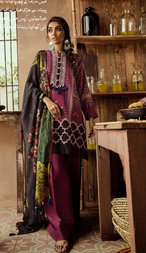 wishcart-Pakistanisuits-Aangan Cotton Satin suits by Cross Stitch-D12-Mulberry Crimson