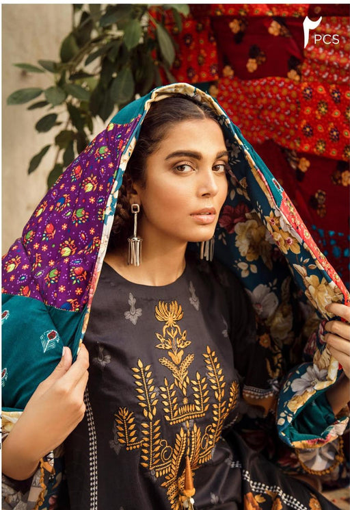 wishcart-Pakistanisuits-Aangan Cotton Satin suits by Cross Stitch-D13-Onyx Tribe