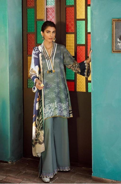 wishcart-Pakistanisuits-Aangan Cotton Satin suits by Cross Stitch-D14-Oriental Steam