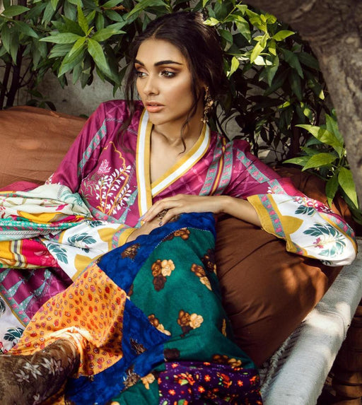 wishcart-Pakistanisuits-Aangan Cotton Satin suits by Cross Stitch-D15-Persian Sage