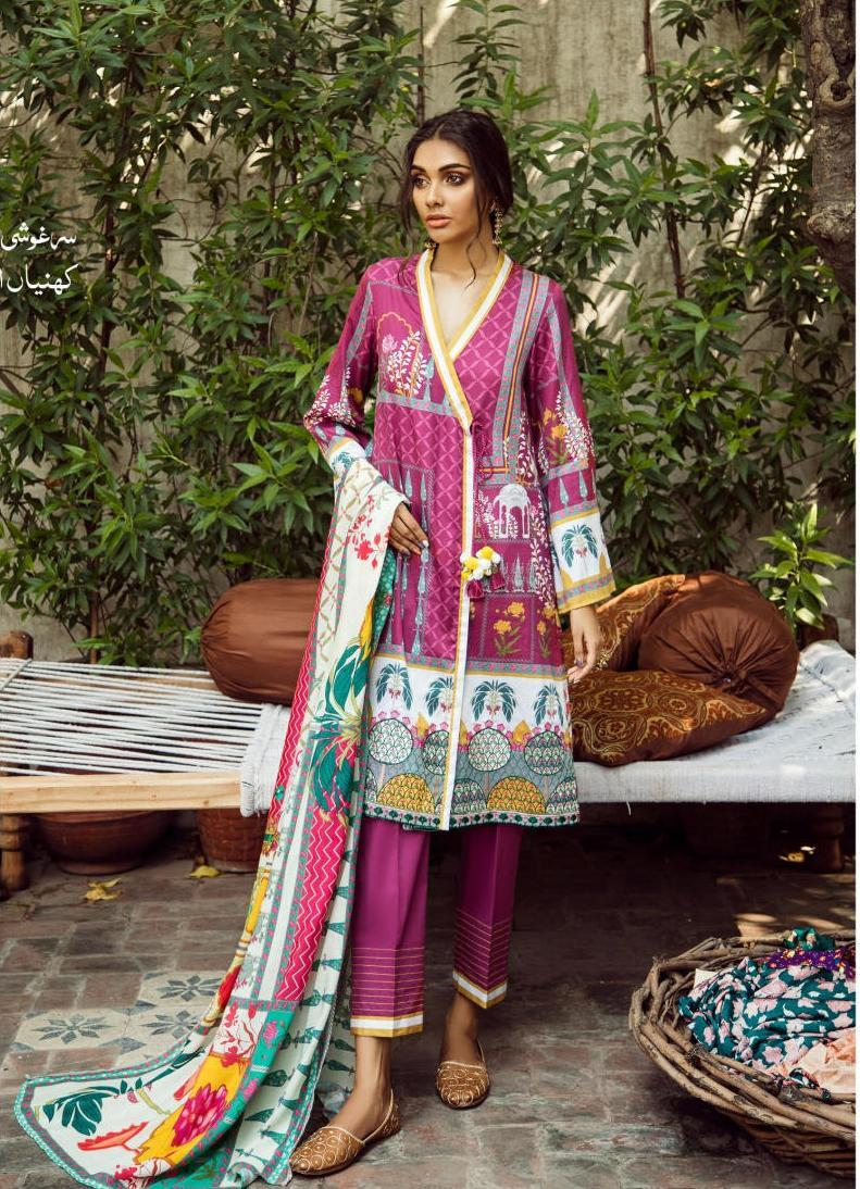 Aangan Cotton Satin suits by Cross Stitch