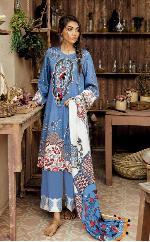 wishcart-Pakistanisuits-Aangan Cotton Satin suits by Cross Stitch-D3-Blue Diva