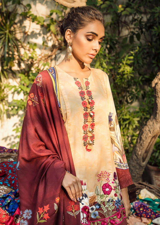 wishcart-Pakistanisuits-Aangan Cotton Satin suits by Cross Stitch-D4-Cardinal Cherry