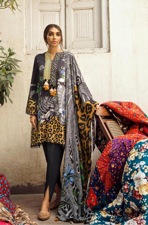 wishcart-Pakistanisuits-Aangan Cotton Satin suits by Cross Stitch-D6-Fern Forest