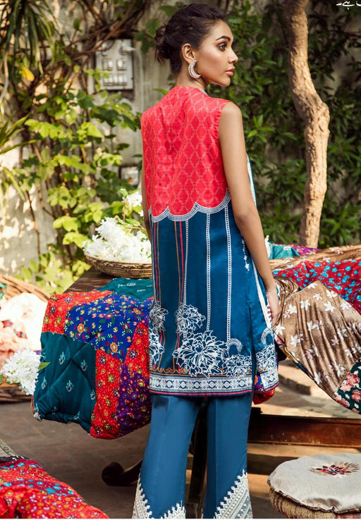 wishcart-Pakistanisuits--Aangan Cotton Satin suits by Cross Stitch-D7-Floral Spark