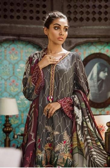 wishcart-Pakistanisuits-Aangan Cotton Satin suits by Cross Stitch-D8-Garnet Flora