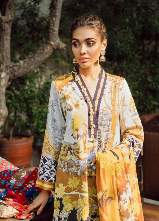 wishcart-Pakistanisuits-Aangan Cotton Satin suits by Cross Stitch-D9-Gold Sunset
