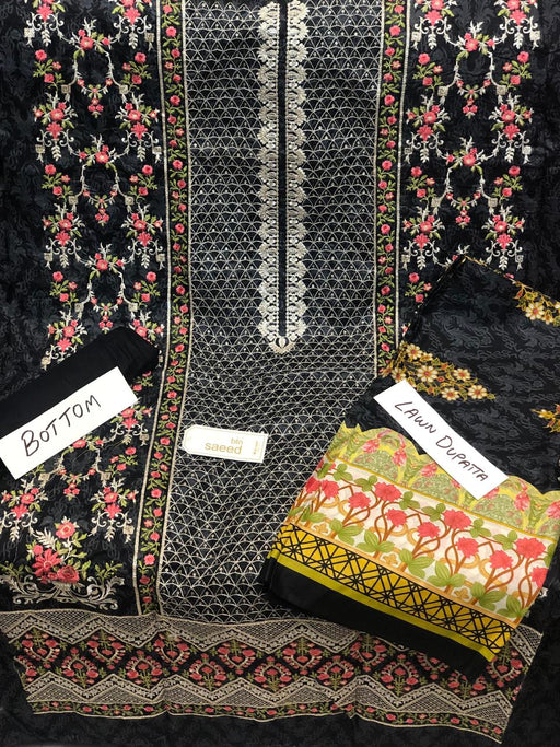 Bin Saeed Lawn Embroidered 3Pcs Suit Wishcart - wishcart.in