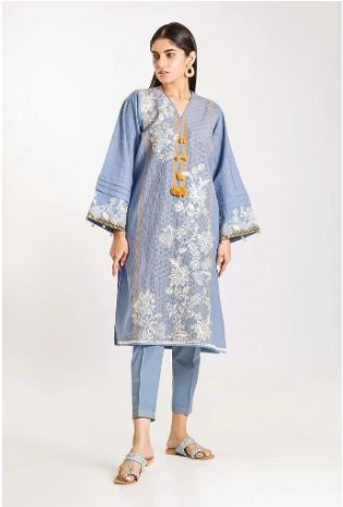 wishcart-Pakistanisuits-Khaadi Winter Vibes Collection 2019 Blue CHI19504