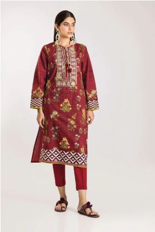 wishcart-Pakistanisuits-Khaadi Winter Vibes Collection 2019 Red CI19503